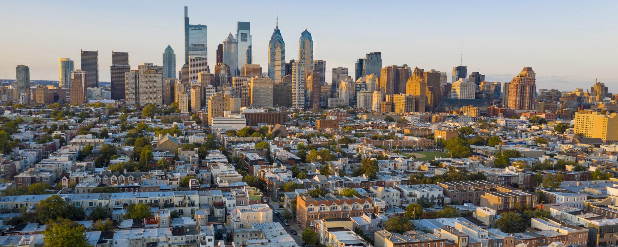 Sun shines on the city of Philadelphia